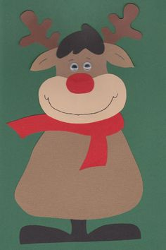 This reindeer would be easy to make using different colors of brown cardboard paper, red cardboard paper, and wiggly eyes.  The body area leaves enough space for students to complete a short creative writing activity.