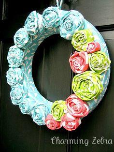 Spring Fabric Rosette Wreath