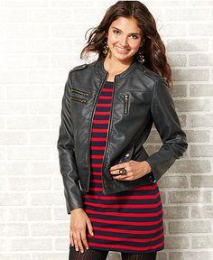 Leather jacket over dress. #macysfallstyle