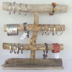 Natural Driftwood Jewelry Display by cocoblack on Etsy, $45.00 jewelri display, bead display, driftwood jewelri, craft, bracelet display ideas, jewelry displays, driftwood jewelry display, driftwood display, jewellery display