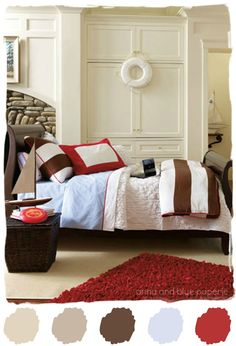 #color #palette #brown #red #blue #boy #room #bedding #nautical #serena #lily anna and blue paperie- color palette for basement
