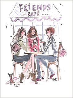"""""""Café Confidants"""" ~~  Art Illustrator ~Izak Zenou~"""