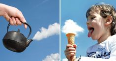 Cloud watching's O.K, but these days it's cloud photography that's all the rage. We collected these 18 photos of people creating clever and playful photos with clouds to show you just how fun and easy it can be. In addition to a camera and suitable weather, you'll need a vivid imagination.