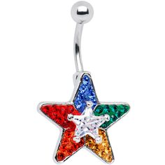 Crystal Star Rainbow Pride Belly Ring $9.99 #bellyring #piercing #navel #star #gay #pride #rainbow #bodymodification