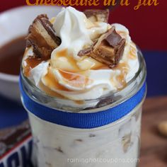Snickers Cheesecake in a Jar...I think these would be great to take to a family potluck
