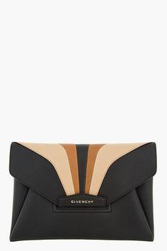 GIVENCHY Black and brown Arch Antigona Envelope Clutch