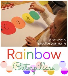 toddler approv, craft, rainbow caterpillar, match activ, letter