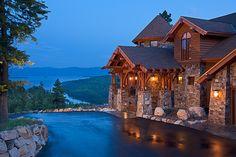 Stone and log cabin