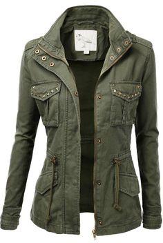 Amazing green military fall jacket