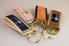 Ribbon Belted Keychain with Palmetto Tree and Moon