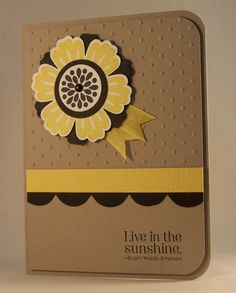 handmade card ... clean and simple design ... kraft base with dark brown and mustard yellow ... luv the layered flower ...  Stampin' Up!