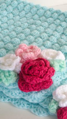 Baby Crochet Blanket Flower Pink and Aqua Baby Blanket. $55.00, via Etsy.