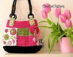 crochet bags, patchwork bag, gardens, pink, crocheted bags, crochet purses, crochet patterns, bag patterns, crochet idea
