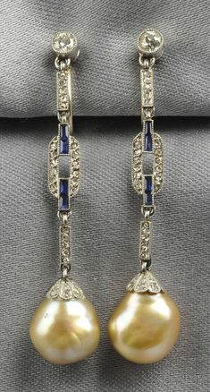 Art Deco Platinum, Natural Pearl, Sapphire, and Diamond Ear Pendants.