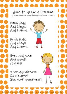 Little Miss Glamour Goes to Kindergarten: how to draw a person. kindergarten style.