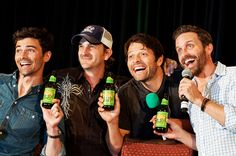 practicing their product placement - Matt, Richard, Misha, and Rob #DallasCon2014