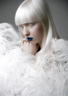 * Russian, albino fashion model Nastya Kumarova *