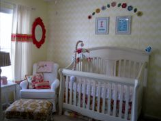 A vintage nursery featuring the Nava Glider by Best Chairs Storytime Series
