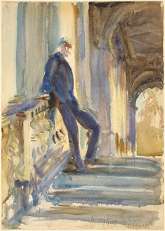 """""""Sir Neville Wilkenson on the Steps of a Venetian Palazzo"""", 1905, John Singer Sargent."""