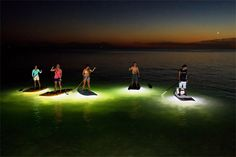 SUP Board LED Lighting System - NOCQUA Adventure Gear just launched these LED lighting systems for your SUP board or kayak. They light up the water beneath you at night using a rechargeable battery. | Werd