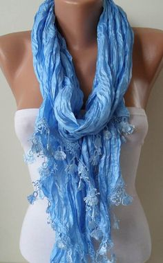 Blue Scarf with Same Color Trim Edge by SwedishShop on Etsy, $19.90