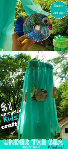Under The Sea Up-cycled Windsock $1 Kids Craft