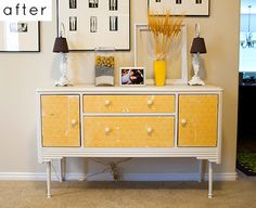 yellow and cream painted buffet table - painted furniture