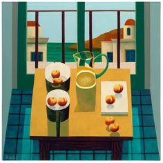 Peaches & Pots still life by Irish artist Graham Knuttel