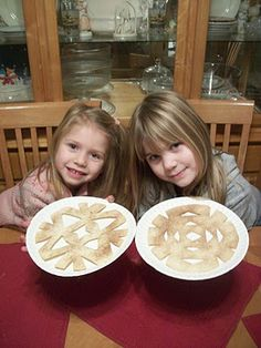Cinnamon Snowflakes! made by folding and cutting a tortilla in a snowflake shape.... then sprinkling cinnamon and sugar, and bake