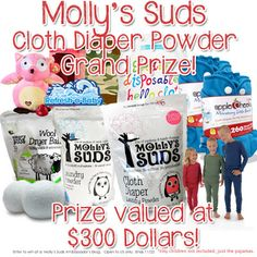 Molly's Suds Giveaway! Enter to win over $300 in cloth diapers prizes and MORE!