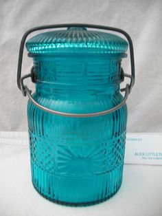 Vintage Blue Glass Jar w/ Snap Down Lid Avon by ALEXLITTLETHINGS, $8.50