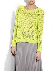 You can knit a similar jumper to this Fishnet Top by Theory with Vanna's Choice yarn in the Radiant Lime shade!