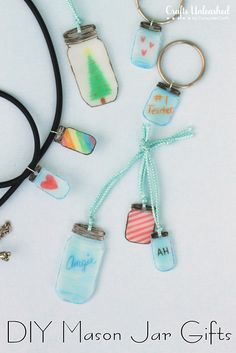 customize your own shrink plastic mason jar charms – great addition to a gift! Wouldn't this be an adorable way label jars
