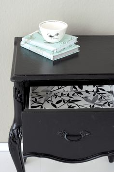 Line a drawer with wallpaper