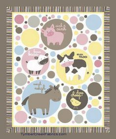 Animal Talk Nursery Baby Fabric Quilt Panel