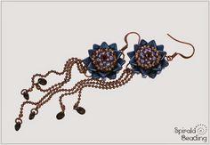 Spirala beading: Water Lily Earrings