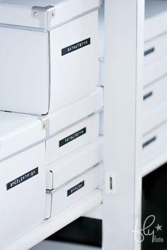 white boxes + dymo tape for super organisation ~