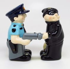 Cop and Robber Funny Magnetic Salt & Pepper Shaker