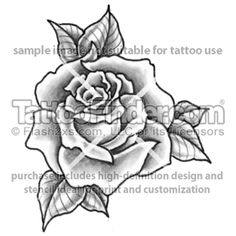 Single Rose Tattoo Design
