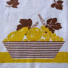 Vintage Linen Dish Towel Yellow Brown Cannon Fruit by KerryCan, $18.00