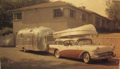 1957 Buick Century Caballero with boat and Airstream