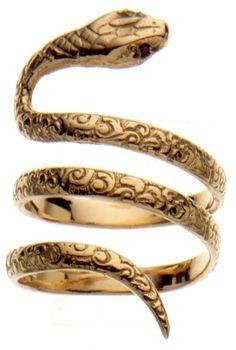 Gold Snake Ring, Set with Black Diamonds - Lyst