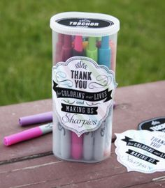 teacher appreciation gift - thank you for coloring our lives and making us sharpies