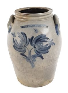 Sold $250 Pennsylvania two-gallon stoneware crock, 19th c., impressed Moyer Harrisburg, with cobalt floral decoration, 12 1/2'' h.Pennsylvania two-gallon stoneware crock, 19th c., impressed Moyer Harrisburg, with cobalt floral decoration, 12 1/2'' h.