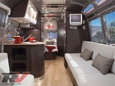 The interior of my future RV that I will travel around in!  LOVE this - so clean and modern