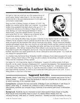 An overview of Martin Luther King, Jr.'s achievements and related activities for grades 5-8. http://www.teachervision.fen.com/african-american-history/printable/46208.html #MLK