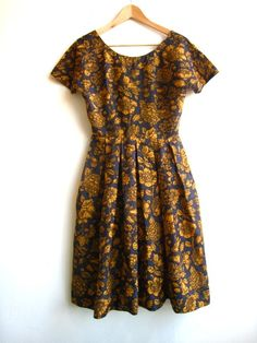 Vintage 50's 60's Dress..Navy and Gold Floral Print.