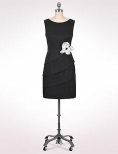 Petite Tiered Flower Applique Dress | Dressbarn