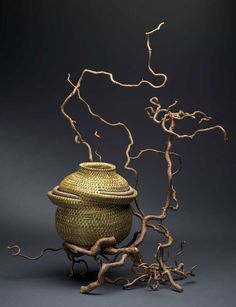 Sweetgrass and  Curly Willow basket by Deborah Muhl