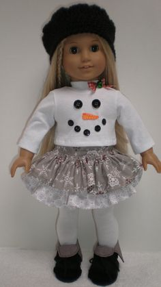Gray Snowflake Ruffled Skirt Snowman Tee Shirt Hat by dollupmydoll